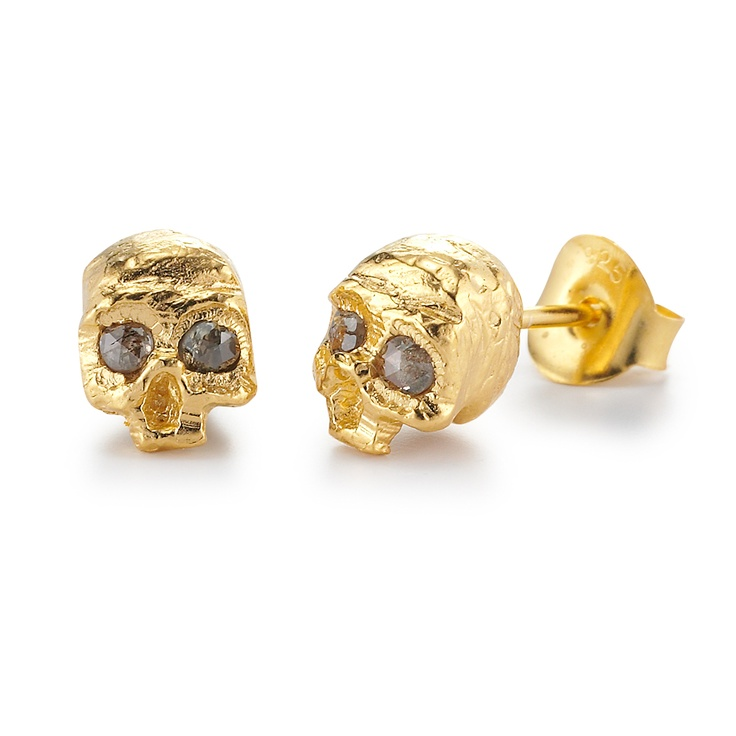 diamond skull earstuds