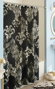 Black Grey Ivory DAMASK SHOWER CURTAIN U0026 BATH RUG SET Bathroom Decor NEW