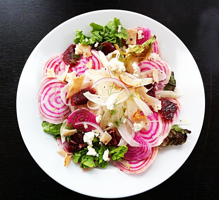 shaved beet and fennel salad with blood orange, dill, feta, and smoked ...