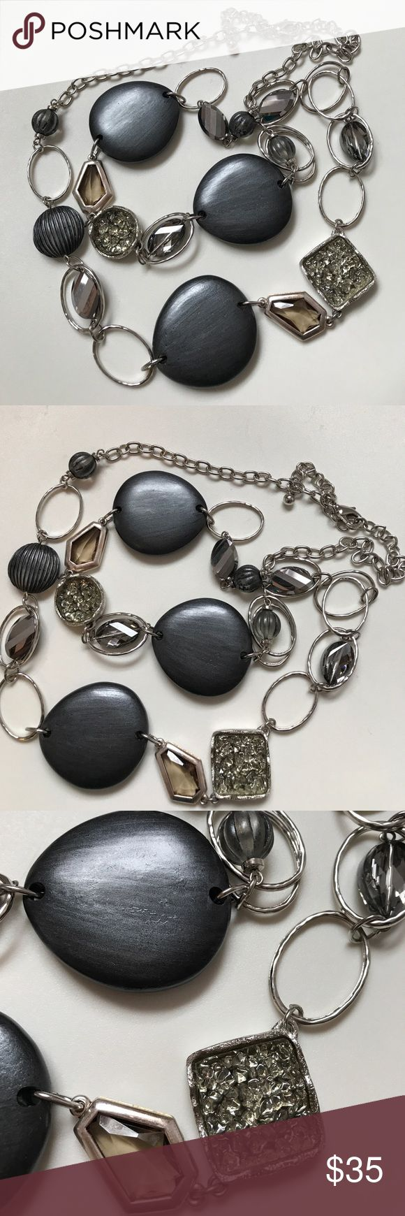 Chico's LONG silver necklace Silver necklace with charcoal - gunmetal colored mirrored beads.  Measures 42 inches long and is adjustable. Chico's Jewelry Necklaces