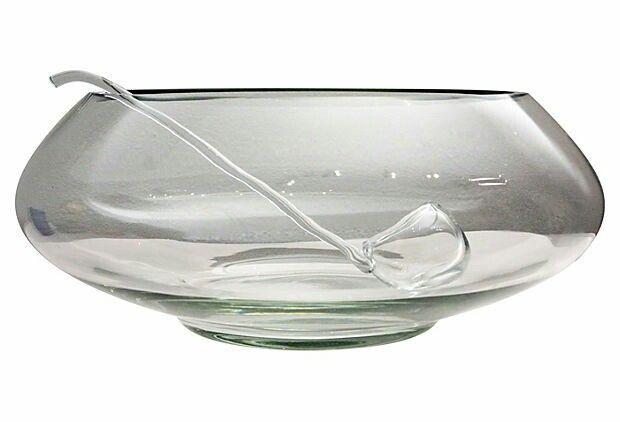 Midcentury Modern Oversize Punch Bowl & Glass Ladle