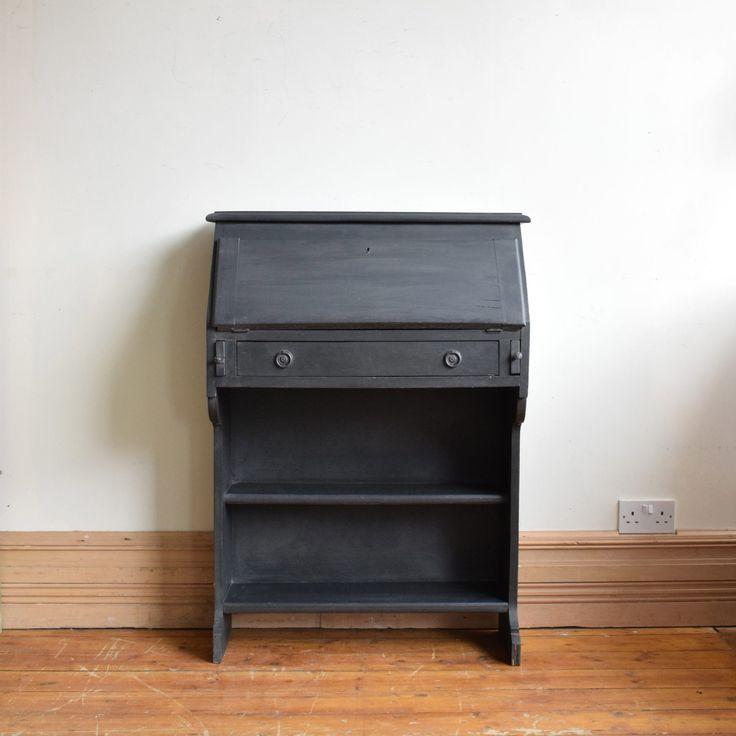 Vintage Black Painted Bureau