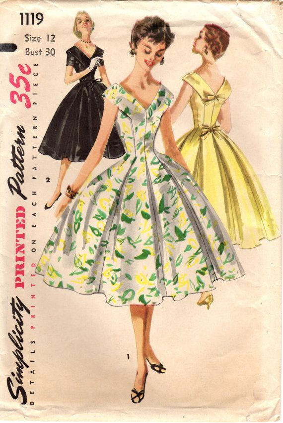 1950s Simplicity 1119 Vintage Sewing Pattern by midvalecottage