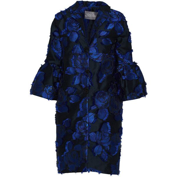 Lela Rose Black & Lapis Full Sleeve Coat (€1.955) ❤ liked on Polyvore featuring outerwear, coats, floral print coat, lela rose and floral coats