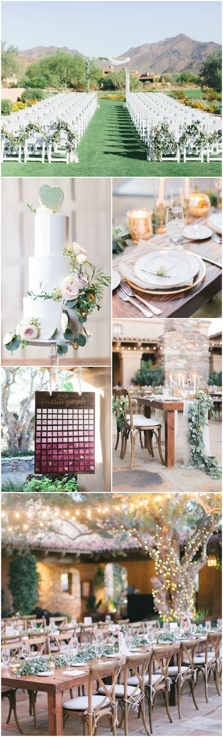 Phoenix, Arizona wedding, green lawn, hanging white lights, farm tables, cactus cake, wooden x-back chairs, eucalyptus leaves // Andrew Jade Photo