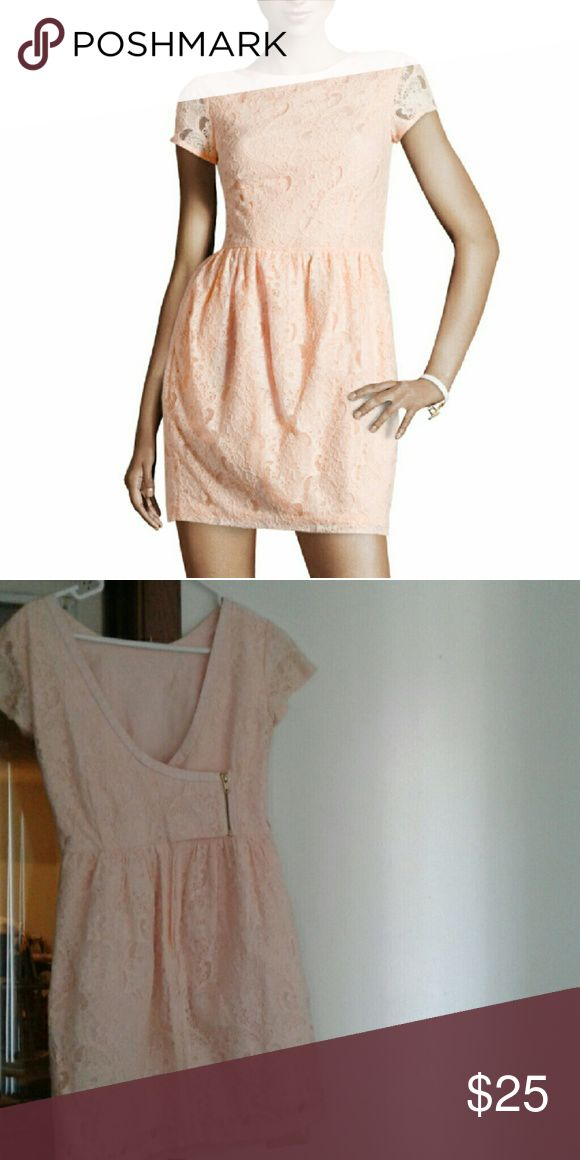 Peach Lace Dress 6 H&M Conscious Collection Pale Peach Lace Dress:  * Size 6 * Floral short Sleeve Knee Lenght Dress * Lower cut Zipperred back (with hidden bottons) * Waist  13.5 * Great for formal wedding party or any special event.   👍 Make an Offer!  🛍 15% on 2+ Bundles H&M  Dresses