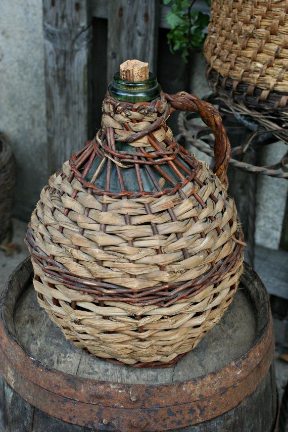 French Vintage Wine Bottle in Wicker demi by FromParisToProvence, €38.00