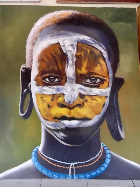 Tribal African Portrait Huge Painting Headhunter From Ubud Bali Acrylic On Canvas Hand Painted Home Decor