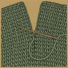 Das Stopfen von Nähten. Stopfen ist eine Technik, mit der man zwei gestrickte Teile unsichtbar zusammennäht. Man stopft beispielsweise die Zehennaht bei Socken und die obere Naht bei Fäustlingen, da beim Stopfen auf der Innenseite kein störender Saum entsteht. Auch Schulternähte sehen mit einer Stopfnaht schöner aus. Stopfnähte kann man bei glatt rechts (rechts und links) und kraus Gestricktem machen.