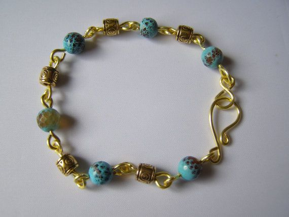 handcrafted bracelet goldplated copper wire links with by terramor, €18.00