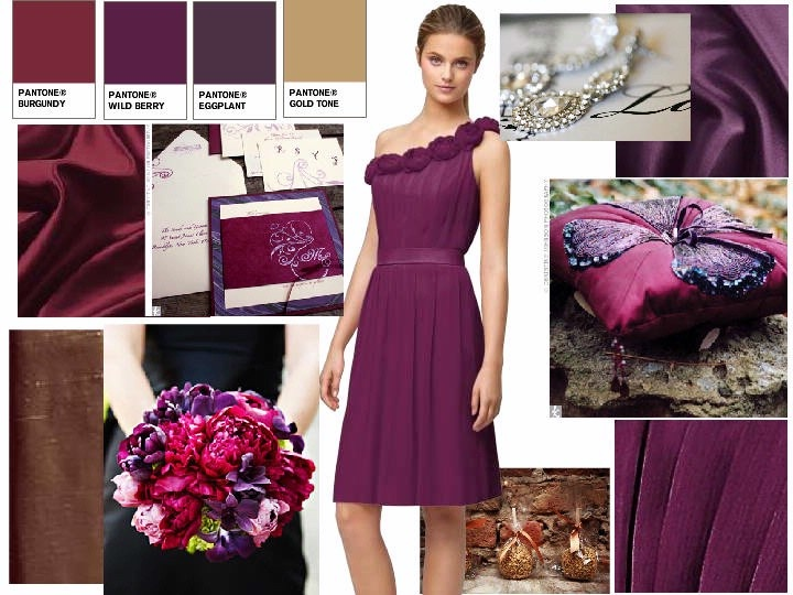 you can do eggplant and burgundy/wine