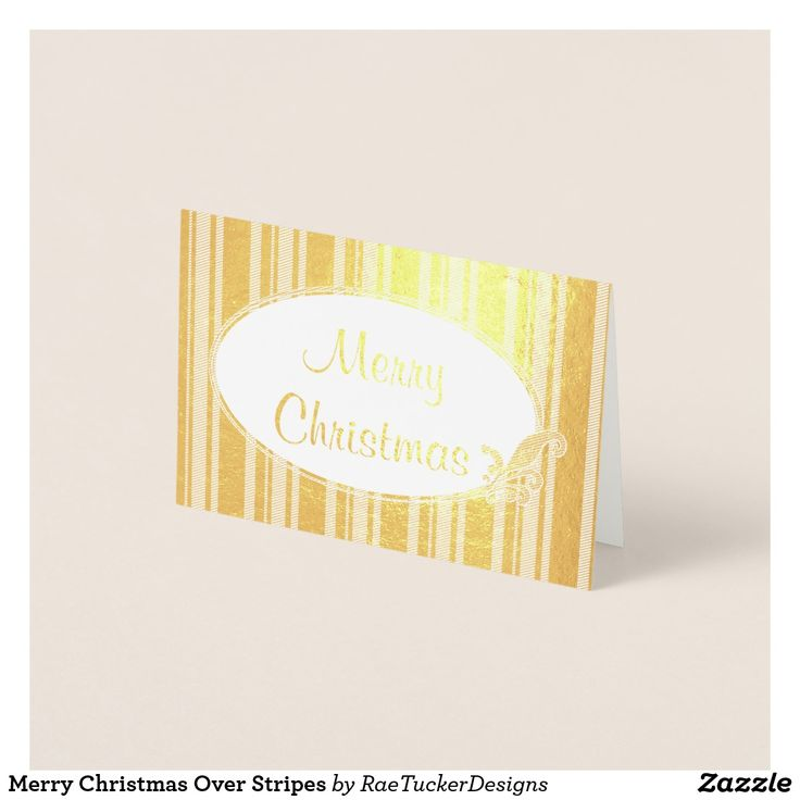 Foil Greeting Card: Merry Christmas Over Stripes - fully customizable and ready to be personalized