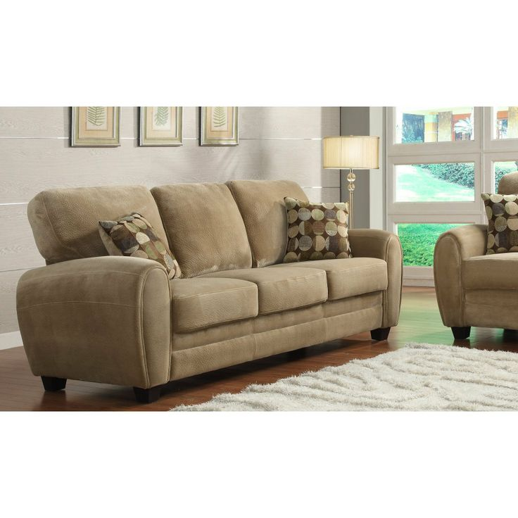 FurnitureMaxx Rubin Sofa 2 Pillows Brown Plush Sofas WohnzimmereinrichtungTraditionelles