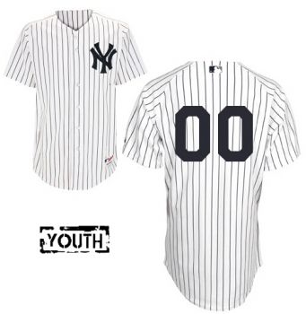 Youth Authentic New York Yankees White Stripe Jersey Cheap