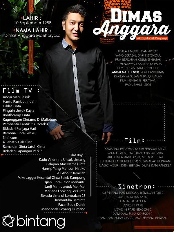 Pria kelahiran 10 September 1988 ini memulai karir lewat drama FTV sejak tahun 2009. Dia juga menjajal talentanya di dunia modelling dan musik. Bagaimana tepatnya perjalanan karir Dimas Anggara? Simak di infografis berikut yuk. #DimasAnggara #Aktor #CelebBio #Bintang #Indonesia