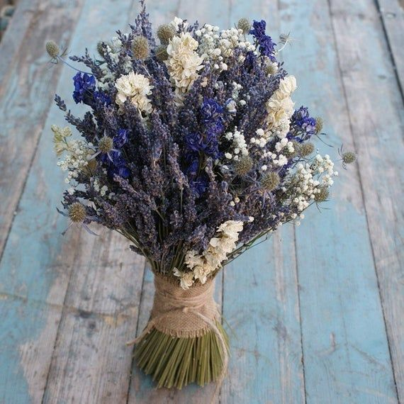 Our Rustic Lavender Bouquet With A Twist Of Larkspur Thistle And Babys Breath Are A Great Alternative For Dried Flower Bouquet Dried Flowers Flowers Bouquet