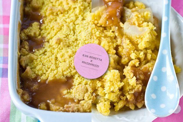 Crumble di pere e banane con salsa al caramello  senza glutine