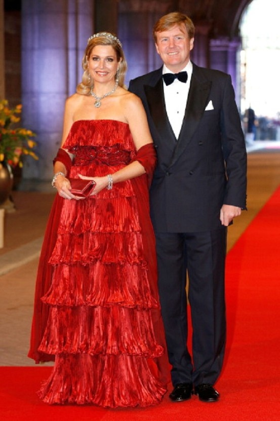 Princess Maxima and her husband Crown Prince Willem-Alexander of the Netherlands arrive at a dinner hosted by Queen Beatrix of The Netherlands ahead of her abdication April 29, 2013 in Amsterdam.