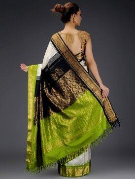 Ivory-Green Gadwal Silk Saree with Zari