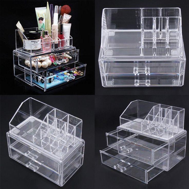 Portable Transparent Makeup Organizer Storage Box Acrylic Make Up Organizer Cosmetic Organizer Makeup Storage Drawers Christmas