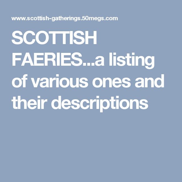 SCOTTISH FAERIES...a listing of various ones and their descriptions