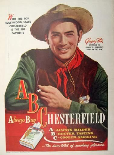 1947 Chesterfield Cigarettes Ad ~ Gregory Peck