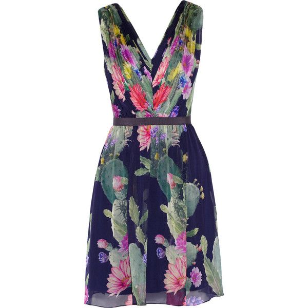 Matthew Williamson navy dress. Silk-chiffon. Multicolored floral print, pleated bodice, grosgrain trim, fully lined. Hook and zip fastening along back. 100% si…