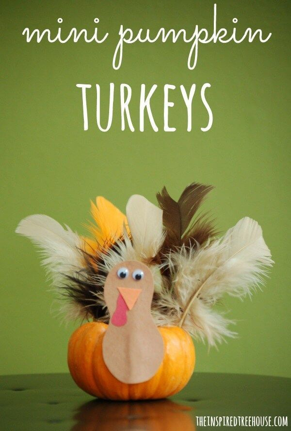 Thanksgiving crafts for kids mini pumpkin turkeys