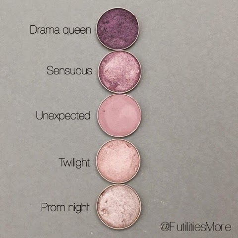 Makeup geek eyeshadow swatches: drama queen, sensuous, unextected, twilight, prom night