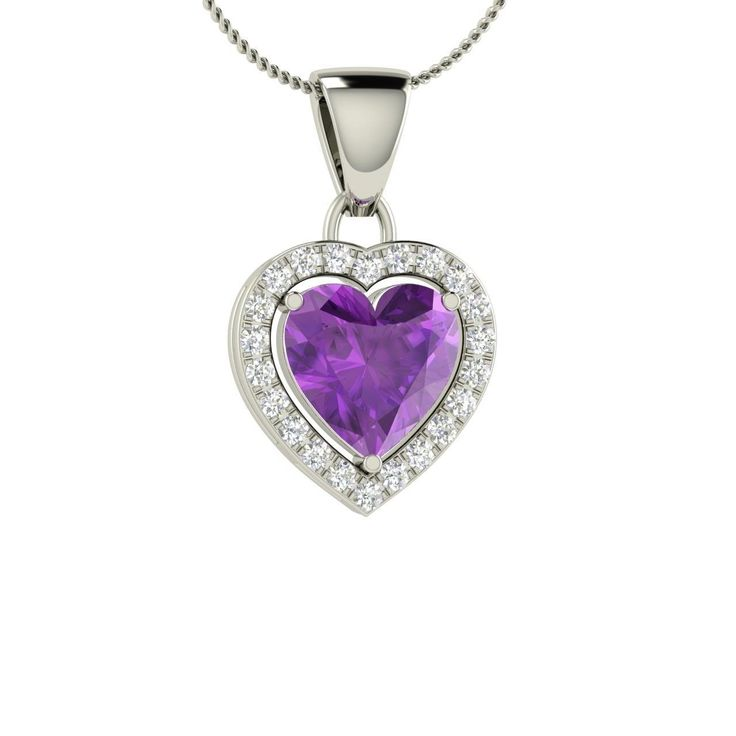 Amethyst & Diamond 14K White Gold Heart Necklace - Free Chain Included - Genuine Gemstone