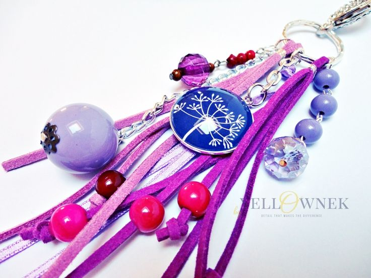 PURPLE SOUL Handmade bag charm/keyring. Mix of leather, glass cabochon, chains glass/ceramic/wood/plastic beads and satin ribbon.