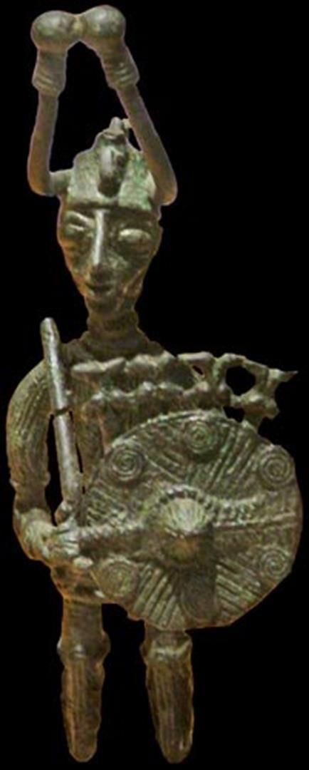 Sardinian bronze warrior with coiled wire bronze decoration