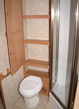 Love the storage by the toilet
