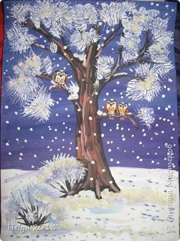 Картина панно рисунок Мастер-класс Новый год Рисование и живопись Два рисунка на зимнюю тему с использованием разных нетрадиционных техник Бумага Гуашь Крупа фото 1