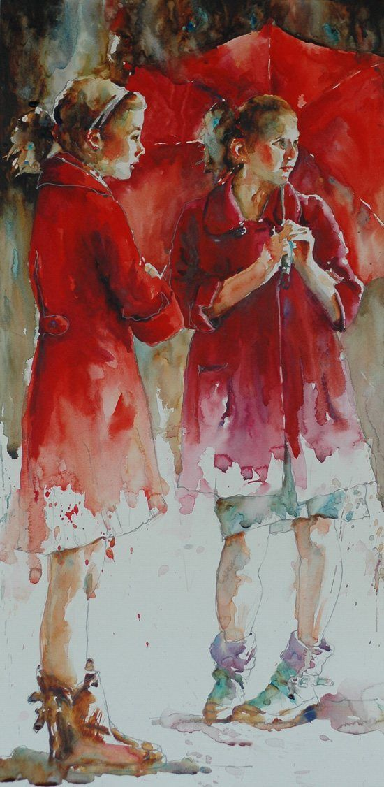 Nothing Watered Down About Her Work - ArtistDaily Jozwiak's works (above, Waiting for #9, 2010, 13 x 26, watercolor, private collection) show how color-rich and sumptuous watercolor painting can be.