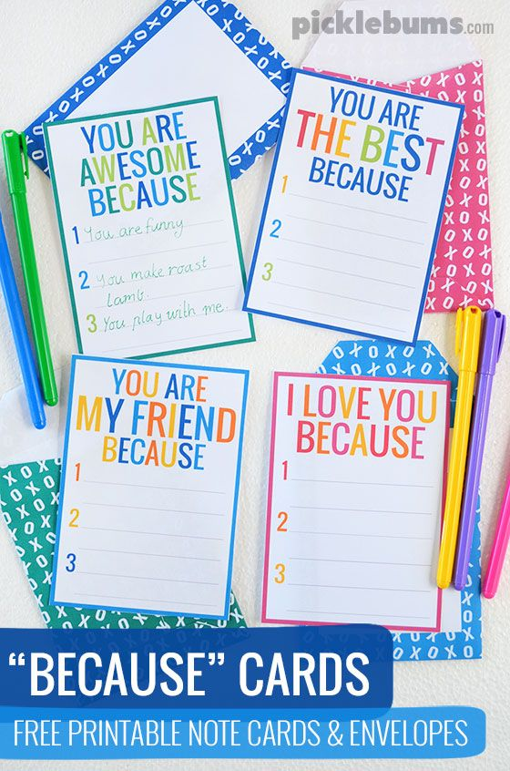 'Because' cards - free printable notecards and envelopes.