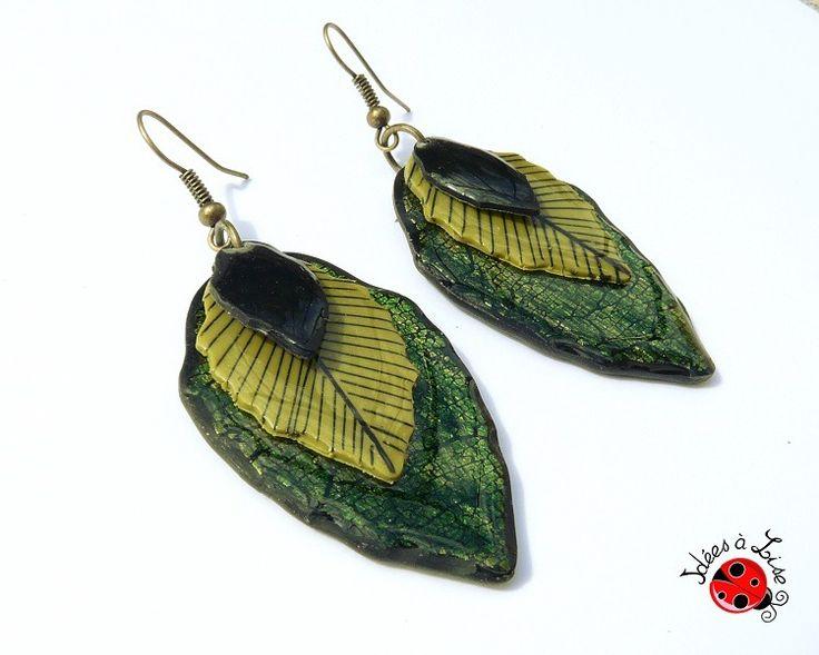 Boucles d'oreilles feuilles vertes : Boucles d'oreille par ideesalise