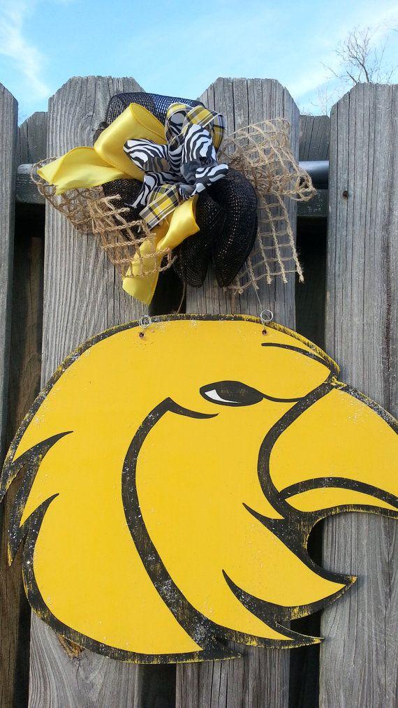 University of Southern Mississippi Golden Eagle USM Eagle Handpainted Wood Door Hanger