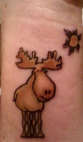 Cute moose tattoo.