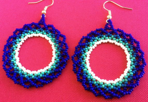 Mexican Huichol Beaded Blue and White Loop Earrings by Aramara