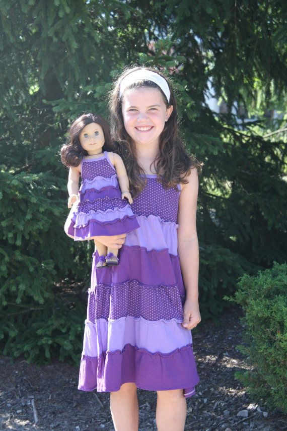Matching Girl and Doll Purple Sundress Set fits by weeline on Etsy, $36.00