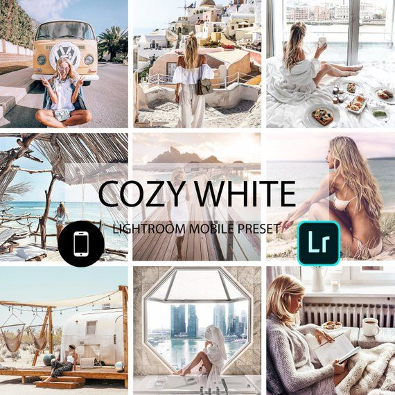10 Mobile Lightroom Presets, Cozy White Presets, Blogger