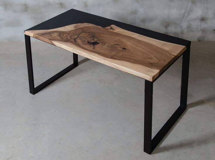Wooden desk made of one slab European walnut, black resin table with steel legs, modern writing desk for architect, office desks