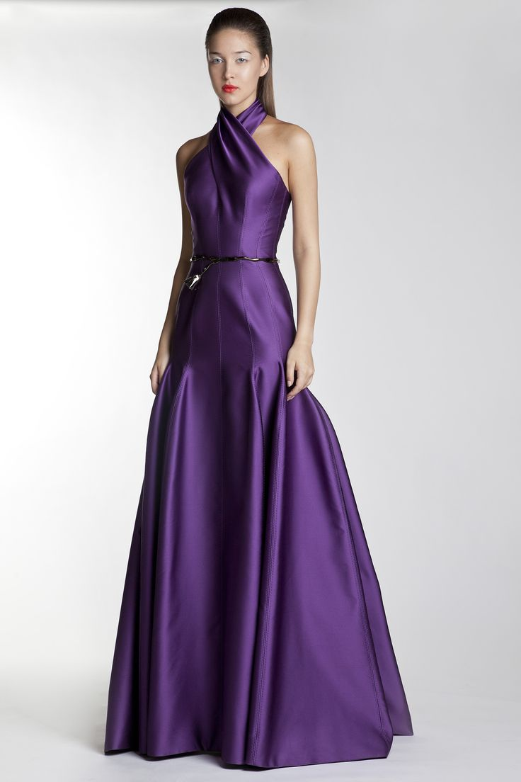 Mermaid shape evening gown and draped neckline