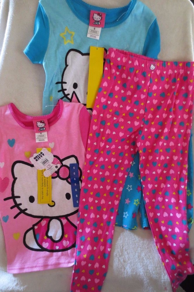 Sanrio Hello Kitty Girl Sleepwear Pajamas Size 6 4 Pieces New  #SanrioKomarkids #PajamaSet