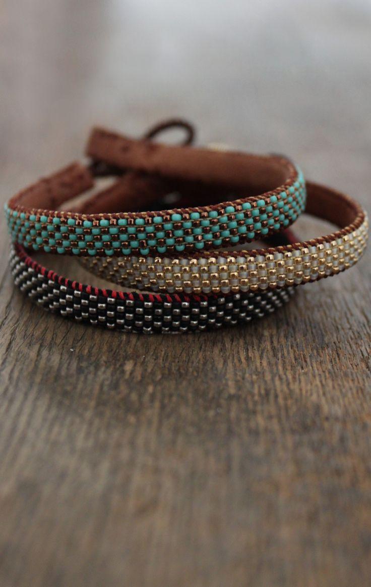 #Beaded bracelet #leather #beads