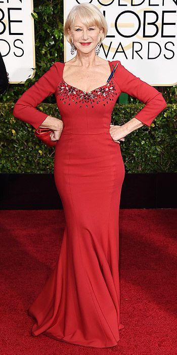 Golden Globe Awards 2015: Arrivals : People.com - Helen Mirren, in Dolce & Gabbana, with Chopard jewels