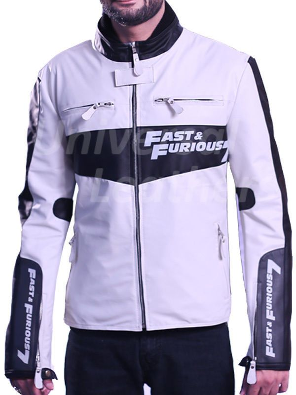 Fast and furious 7 vin diesel white Pu leather jacket