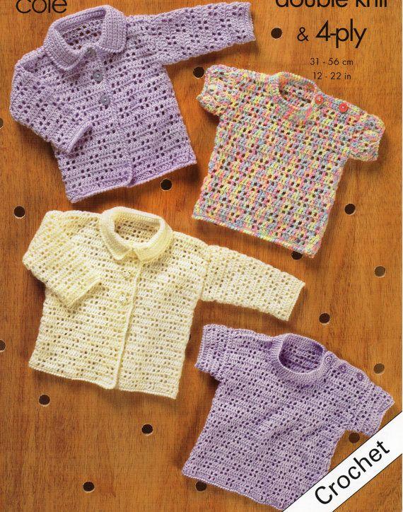 Baby CROCHET Pattern Baby Crochet Cardigan Baby Crochet Sweater Baby Crochet Jumper 12-22inch Premature Sizes 4Ply / DK PDF Instant Download