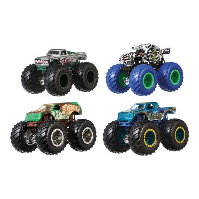 Hot Wheels Hot Wheels Monster Trucks Pack De 4 Coches De Juguete Escala 1 64 Monster Trucks Monster Truck Toys Hot Wheels